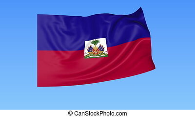 Waving flag of Haiti, seamless loop. Exact size, blue background. Part of all countries set. 4K ProRes with alpha