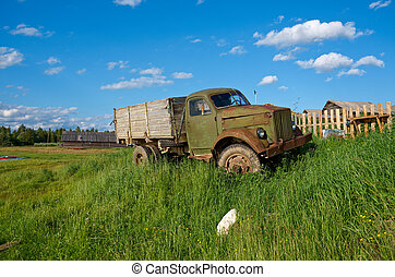 Old Soviet truck North Russian village Kenozerye Arkhangelsk...