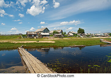 Lake Kenozero . Wooden bridge across the bay, Arkhangelsk...