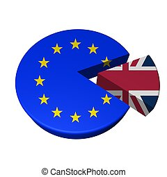 EU cake with UK slice taken out, isolated over white, 3d...