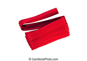 Red bias biding, isolated on white - Bundle of red satin...