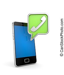 Mobile phone with sign handset. 3d illustration