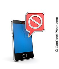 Mobile phone with ban sign 3d illustration