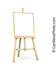 Easel on white with shadow 3d illustration