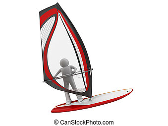 Windsurfer - Sports collection - 3d characters isolated on...
