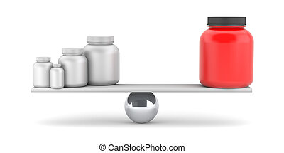 Compare supplements or drugs 3d illustration