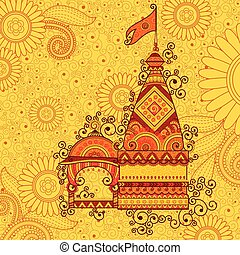 Vector design of hindu temple Happy Dussehra in Indian art...