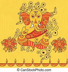 Vector design of Lord Ganesha in Indian art style