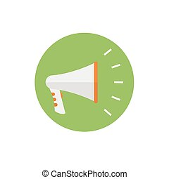 Loudspeaker icon n green background - round color icon. For website graphics, mobile apps, web page layout design. Megaphone Icon -flat vector illustration.