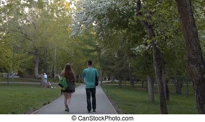 People in blooming park - Unidentified people walking in...