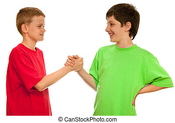 Greeting of two boys - Two boys are greeting one another;...