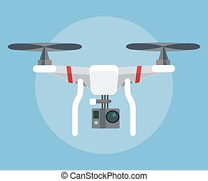Flying robot drone Vector flat cartoon illustration