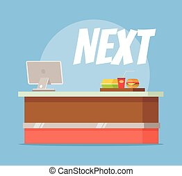 Fast food empty checkout counter Vector flat cartoon...