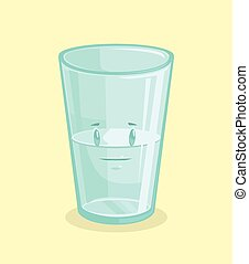 Half full glass of water. Vector flat cartoon illustration