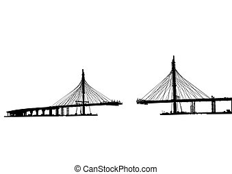 Modern bridge - Large modern bridge on a white background
