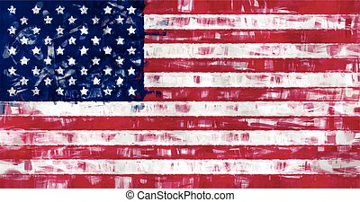 us flag painting vector background illustration