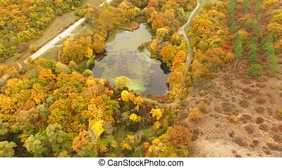 AERIAL VIEW Flight Above Scenic Terrain At Fall Time -...