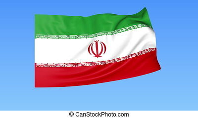 Waving flag of Iran, seamless loop. Exact size, blue...