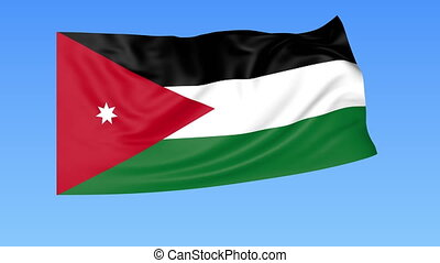 Waving flag of Jordan, seamless loop Exact size, blue...