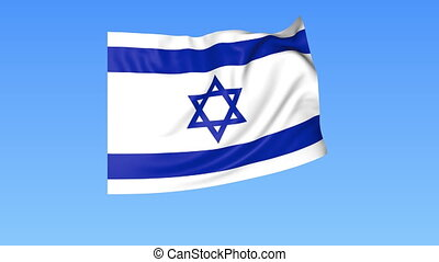 Waving flag of Israel, seamless loop. Exact size, blue...