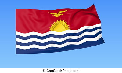 Waving flag of Kiribati, seamless loop. Exact size, blue background. Part of all countries set. 4K ProRes with alpha