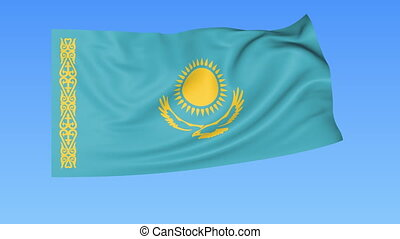 Waving flag of Kazakhstan, seamless loop. Exact size, blue background. Part of all countries set. 4K ProRes with alpha
