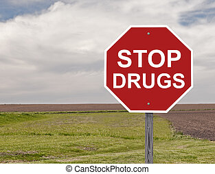 Stop Drugs Sign - Drug Awareness Stop Sign