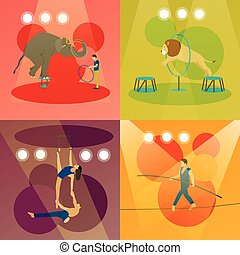 Vector set of circus concept banners. Acrobats and artists...