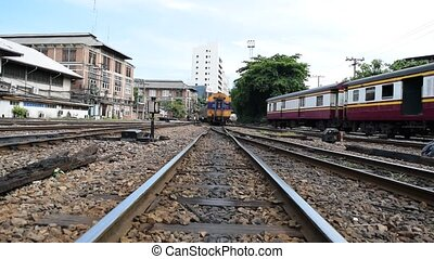 Locomotive train switching the rail - Bangkok, Thailand -...