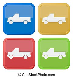set of four square icons - pickup with a flatbed - set of...