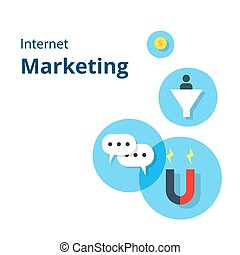 Internet Marketing card with flat internet marketing icons. For website graphics, mobile apps, web page layout design.