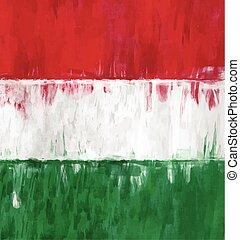 hungarian flag painting vector - hungarian flag sketchy...