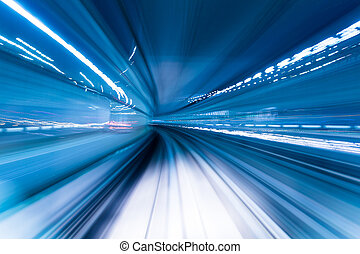 Speeding train through the tunnel