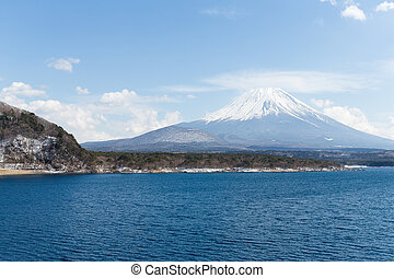 Fujisan and lake