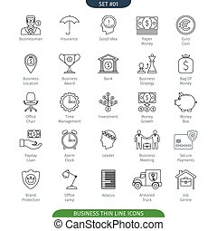 Thin Line Business 01 - Thin Line Icons Set Of Finance And...