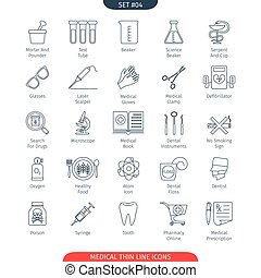 Thin Line Medical 04 - Thin Line Icons Set Of Medical and...