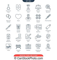 Thin Line Medical 03 - Thin Line Icons Set Of Medical and...