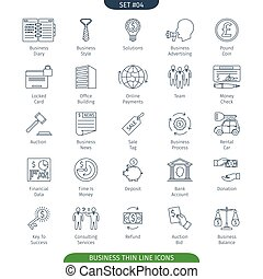 Thin Line Business 04 - Thin Line Icons Set Of Finance And...