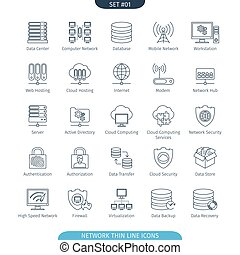 Thin Line Network 01 - Thin Line Icons Set Of Data And...