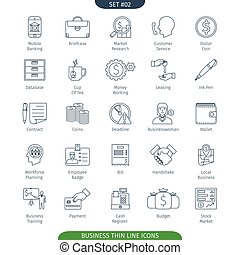 Thin Line Business 02 - Thin Line Icons Set Of Finance And...