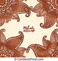 Indian mehndi henna tattoo style vector card background