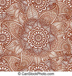 Indian mehndi henna tattoo style vector seamless pattern