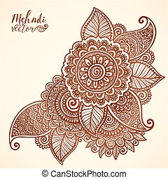 Vector floral element in mehndi henna tattoo style - Vector...
