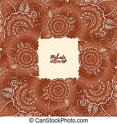 Brown henna colors vector floral square frame in Indian mehndi tattoo style