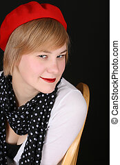 Red Hat - Beautiful young blond female wearing a red hat