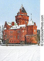 Hjularod Castle in the Snow - Hjularod slott is a castle in...