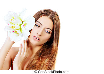 pampering - Beauty concept Tender young woman with clean...