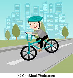 Happy Boy Riding on Bicycle in the City. Vector illustration