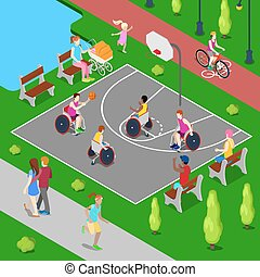Isometric Basketball Playground. Disabled People Playing Basketball in the Park. Vector illustration