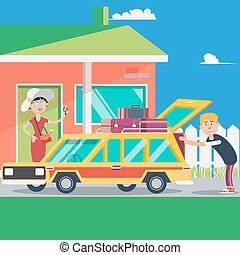Happy Couple Vacation. Summer Trip by Car. Vector illustration